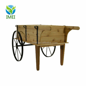 Ym0j18 Wooden Flower Display Cart With Steel Wheels - Buy Wooden Flower  Display Cart With Steel Wheels,Customized Wooden Flower Display Cart With