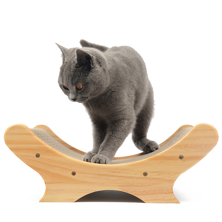 Solid wood corrugated paper bed U-shaped cat bed dog beds