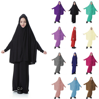 Free Dubai Islamic Clothing Wholesale Children Kaftan Girls Abaya Muslim Kids Dress 12 Colors DL2840