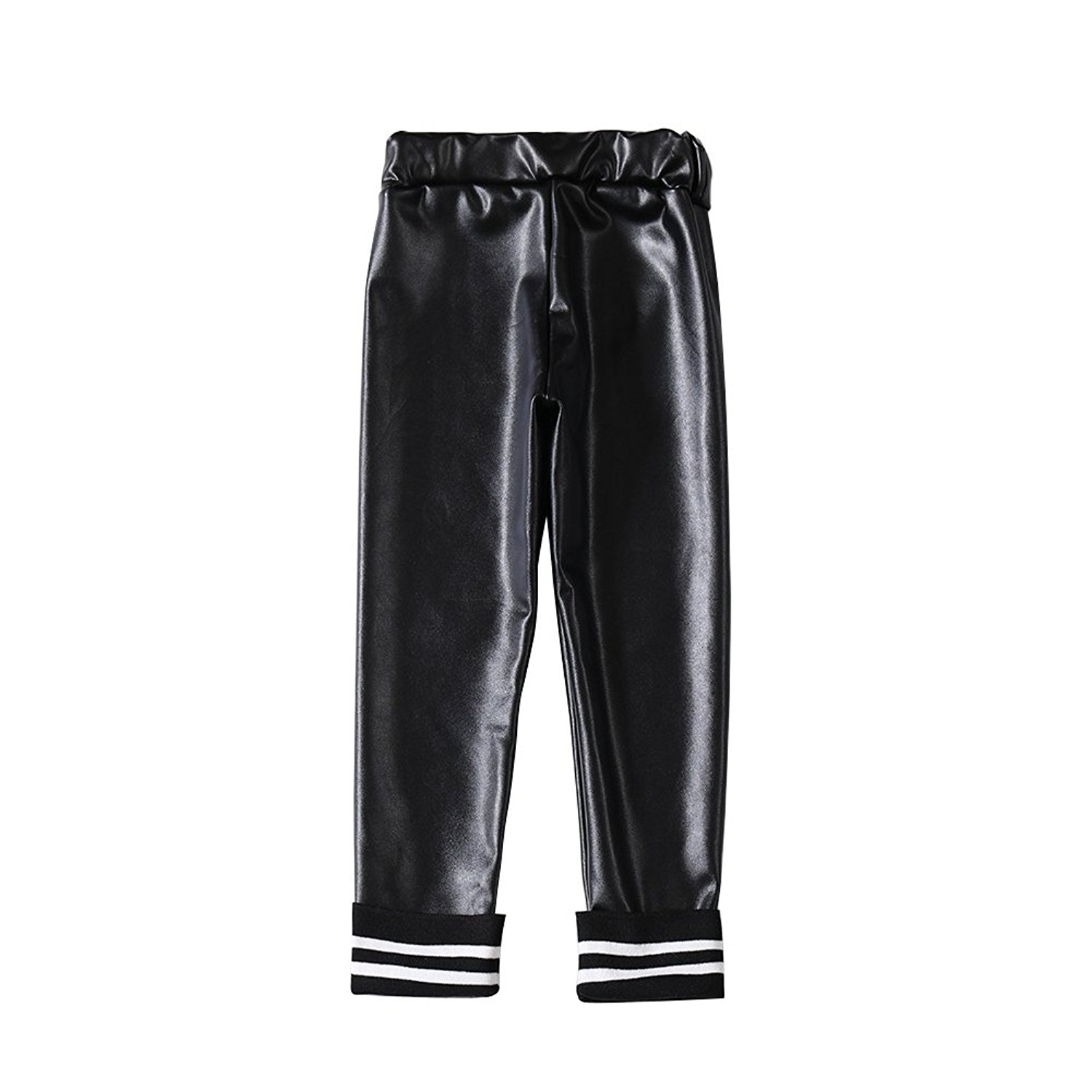 f214d64ea5f8e Get Quotations · Luxsea PU Leather Pants, Winter Girls Little Girls' Metallic  Color Shiny Stretch Leggings Thick