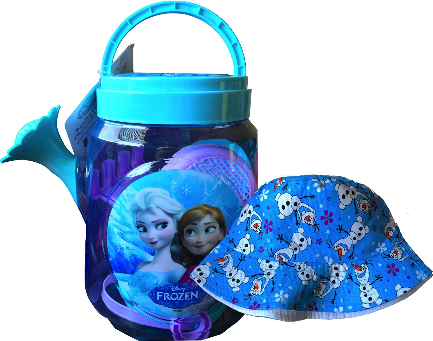Disney Frozen Outdoor Play Watering Can Set Children's Nature Exploration Toys Includes Shovel, Rake, 2 Sand Molds, Sifter, Pail, Watering Can with Disney Frozen Olaf Hat
