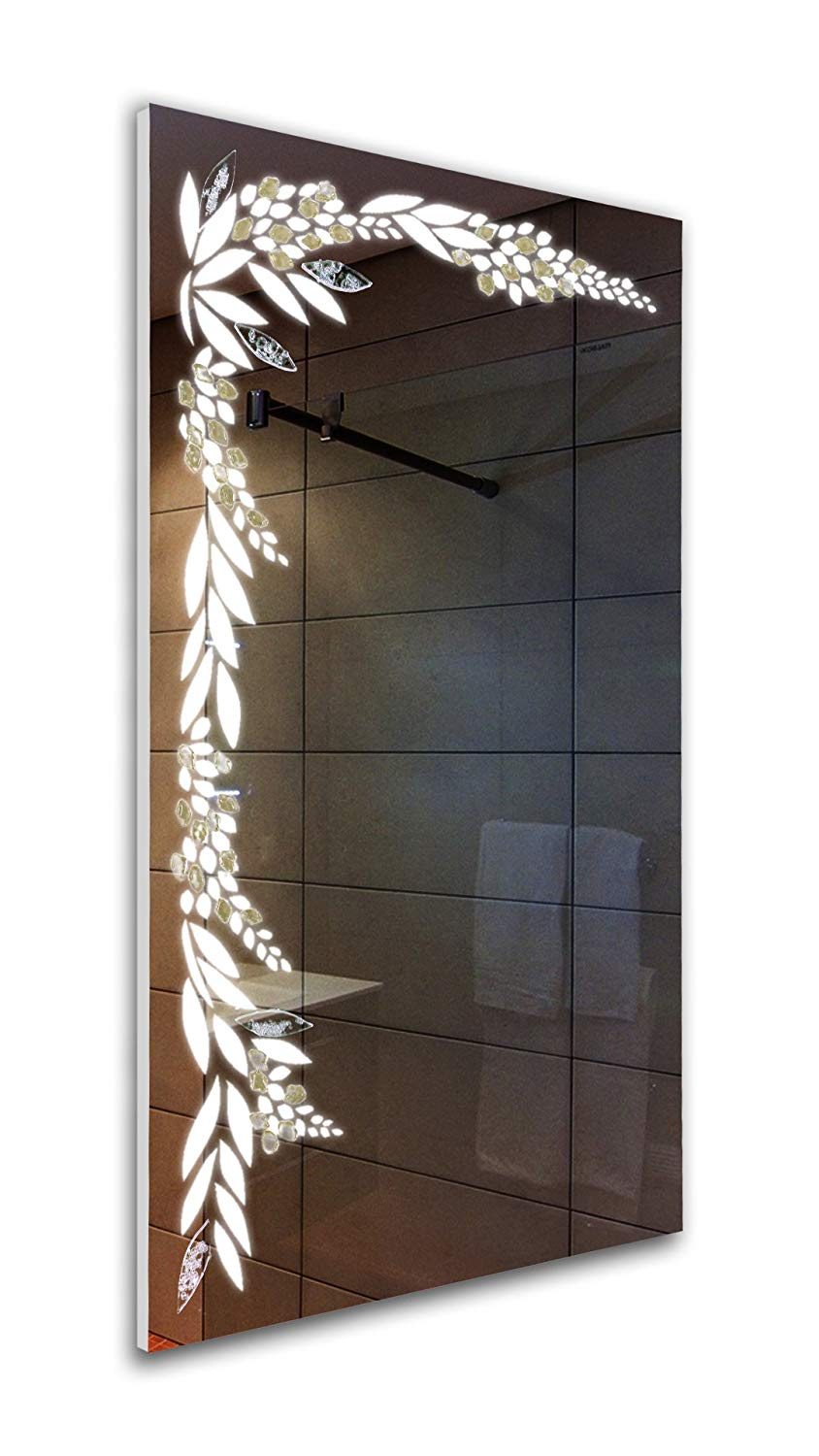 Tilebay LLC Silver Flower Led Lighted Mirror | Bathroom Mirror | Led Make-up Mirror | Glass Accents | 3 Switch Types Available 43x25