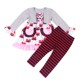 Boutique girls fancy set mustache love heart print button front cute top dress red black striped pant two piece set