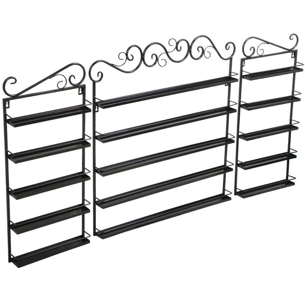 Topeakmart Nail Polish Wall Rack Holder 5 Tier for Nail Polish or Essential Oils Holds Up to 200 Bottles - Black