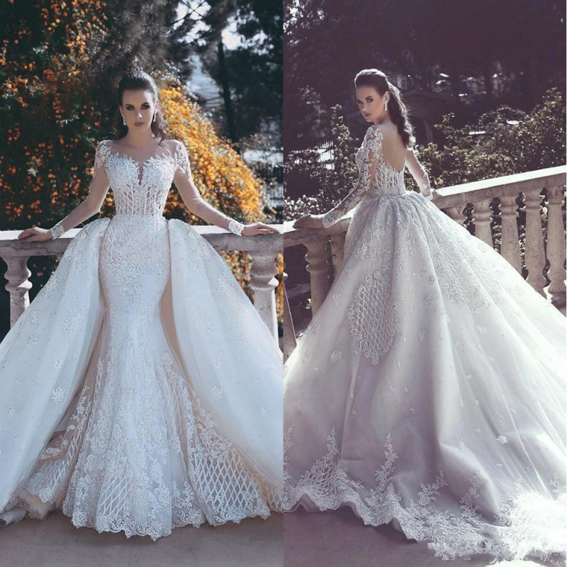 Alibaba.com / Vintage Illusion Long Sleeveless Detachable Skirt Mermaid Wedding Dress WF058