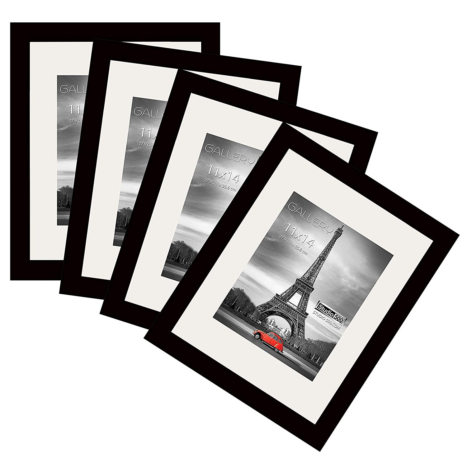 Two 8x10 Luxury Made Affordable One 11X14 Each Frame comes with 1pc White Core Mat Board and Two 6x8 THE DISPLAY GUYS 7 Piece Black Wooden Photo Frame Set Two 11x14 w//Two opening