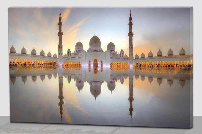 चीन कारखाने थोक प्रकाश अप पेंटिंग कैनवास के लिए इस्लामी निर्माण कला चित्रकारी गृह सजावट