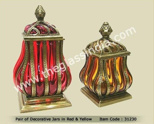 blown glass pair of decorative jars in red yellow buy blown glass jars product on alibabacom - Decorative Jars