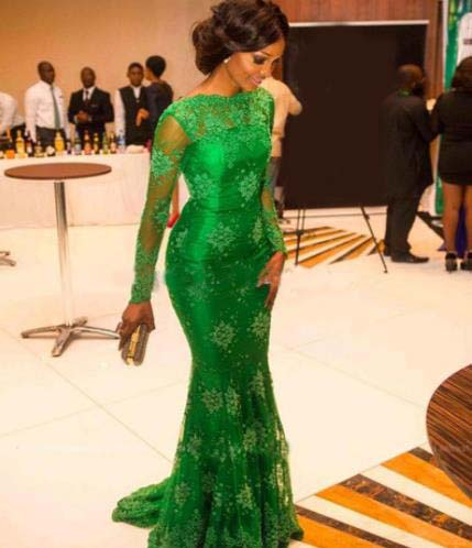 Emerald Green African Women Applique Mermaid Design Evening Dresses with Sleeves