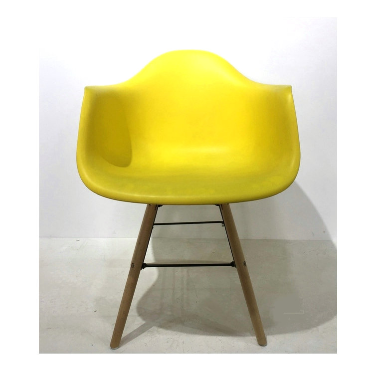 Multicolor Living Room Chair Good-looking PP Seat,Beech Wood Legs With Square Bag Frame Leisure Plastic Arm Chair