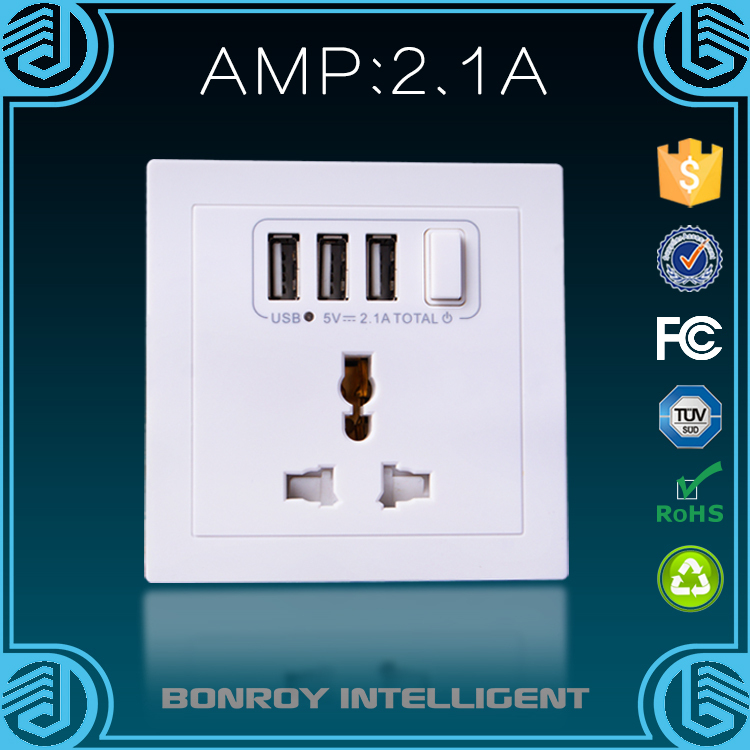 free sample Standard Grounding 3 gang plug dc power Rapid double usb charger universal wall mounted power outlet socket