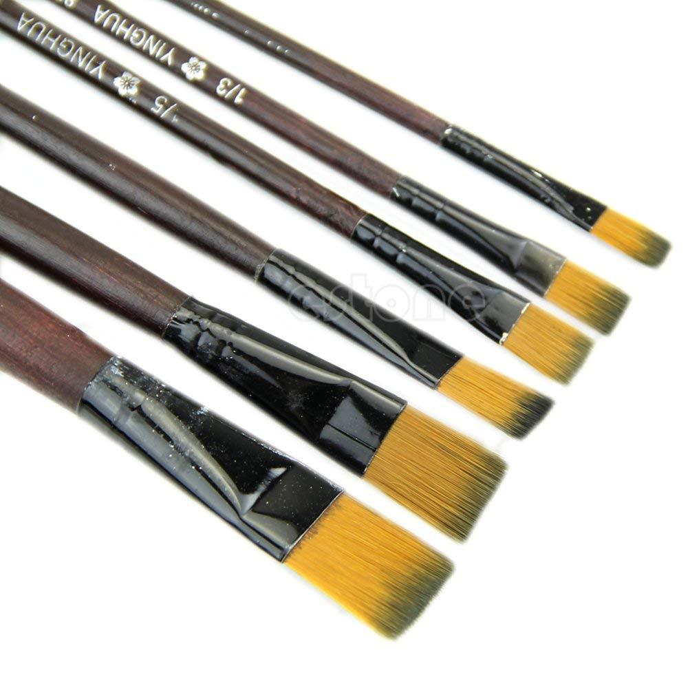 Sarora - 6pc Brown Nylon Paint Brushes - New Art Artist Supplies