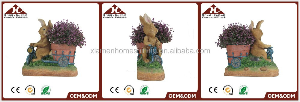 personalized rabbit flower pot with solar light