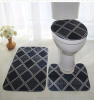 bathroom santa toilet seat cover and 3 piece bath rug set