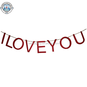 ECO FRIENDLY LASER CUT LOVE LETTER FELT GARLAND/BUNTING/BANNER FOR VALENTINE/WEDDING/PARTY DECORATION