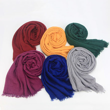 Monochromatic Cap Islamic Ladies French Muslim Pleated Jersey Headscarf 2018 New Crinkle Instant Shawls Wholesale Turkish Hijab