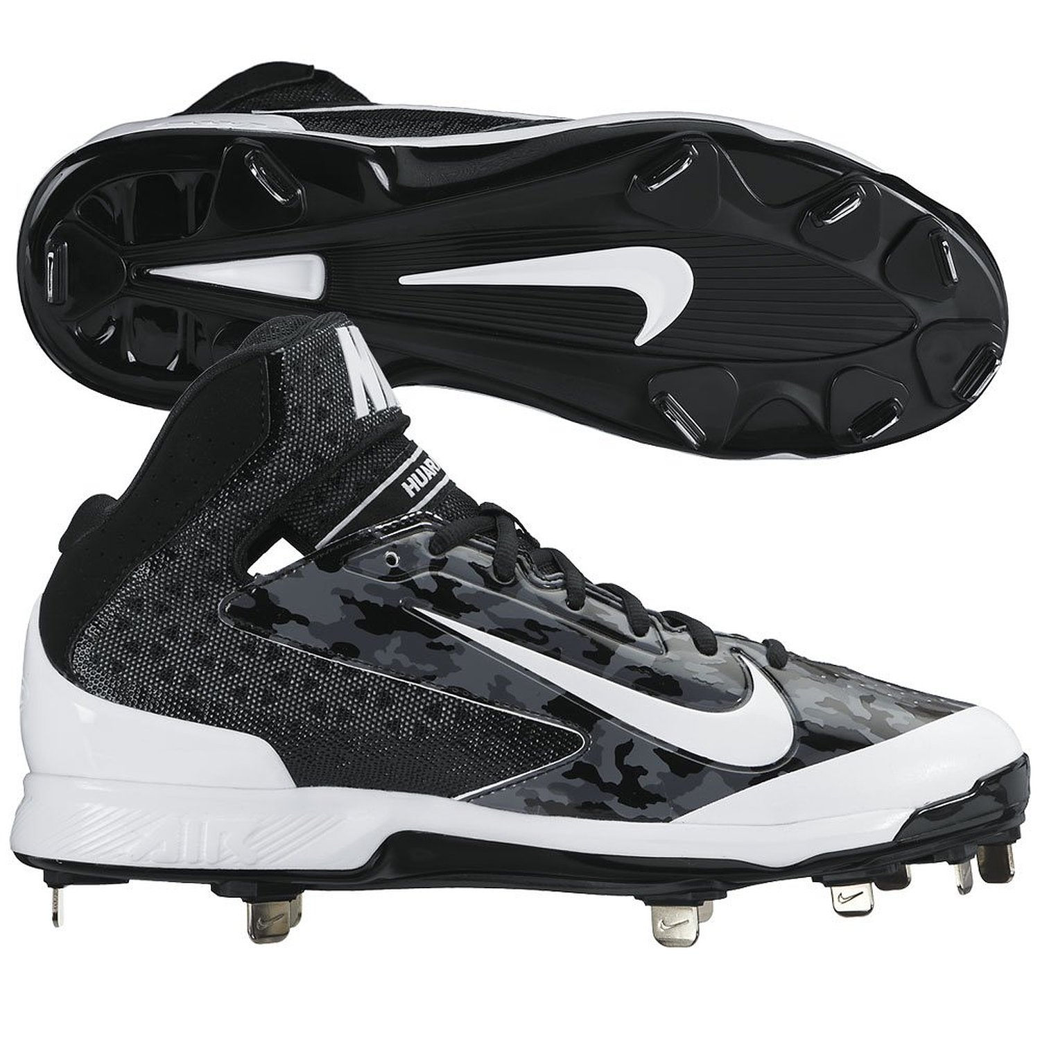 0dd8c4ce8ccb Get Quotations · Nike Mens Camo Air Huarache Pro MId Camo Metal Cleats 11  1 2 US Black