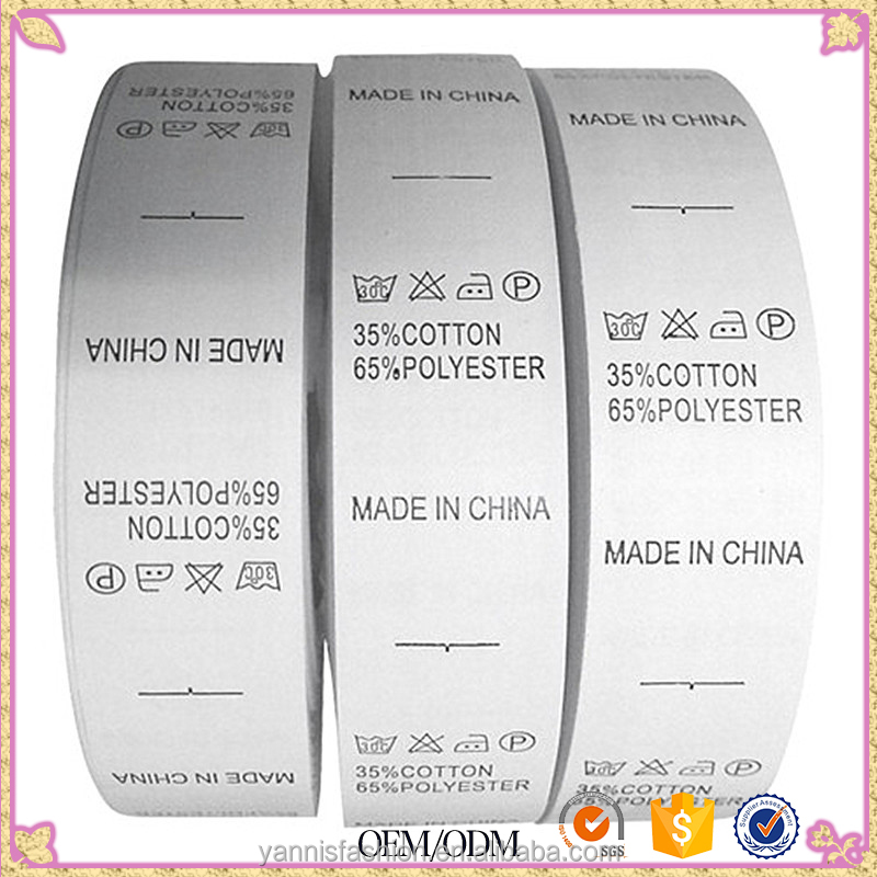 OEM clothing nylon/taffeta/satin/polyester eco-friendly wash care label for garment