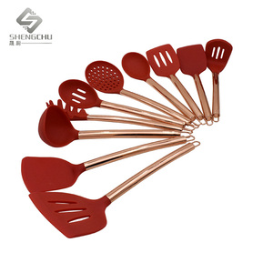 High quality silicone kitchen utensil set with stainless steel copper handle