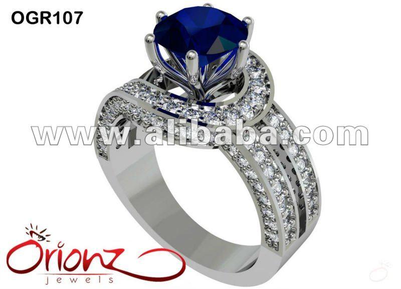 cbbe5c008e33 Anillos De Diamantes De Piedras Preciosas Azul Anillo De Piedras Preciosas