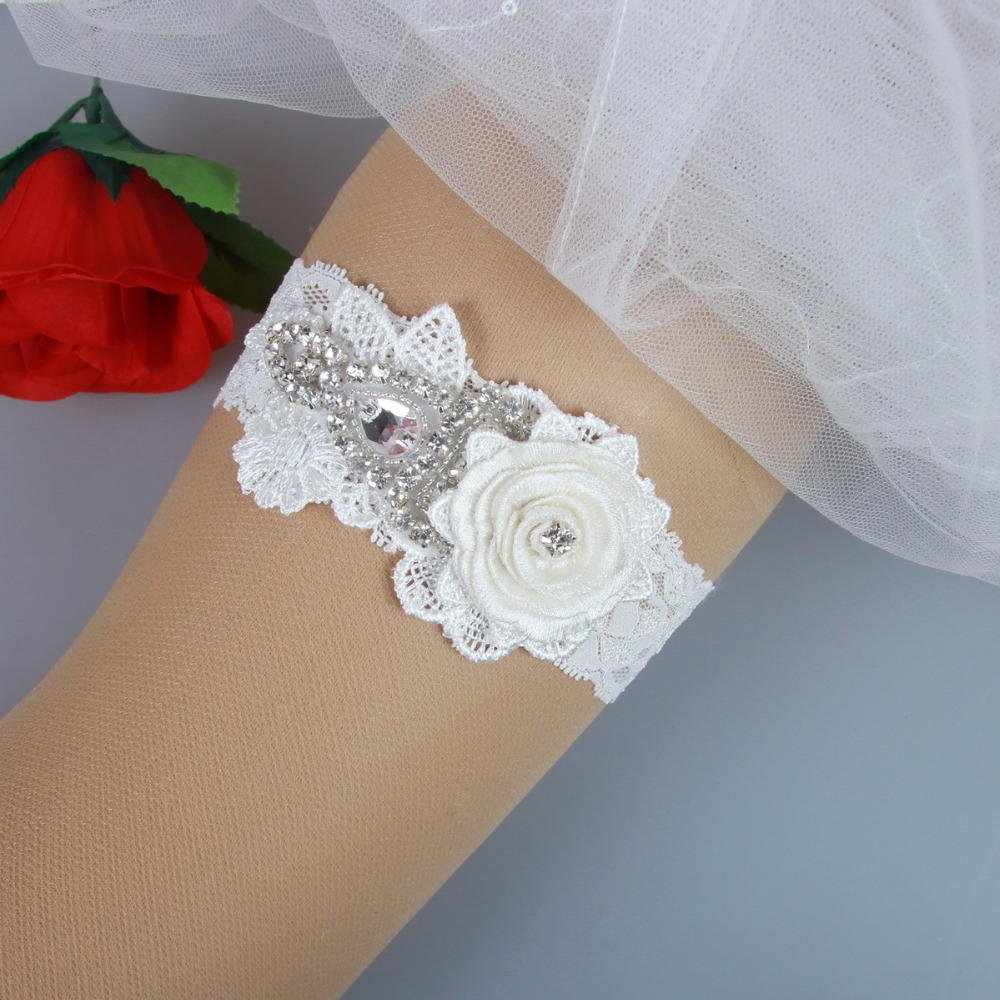 Shabby Flower and Rhinestones Applique Lace Wedding Garter for Bride Handmade F372