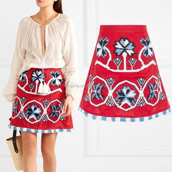 a8a7a6284 Boho vyshyvanka adorno floral mexicano bordado Lino mini corta skirs sin  ropa interior HSD5705