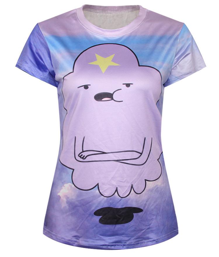991436bc681 Get Quotations · Adventure Time T-Shirt Woman Cloud Harajuku Tee Shirt  Violet New Arrival Cartoon T Shirt