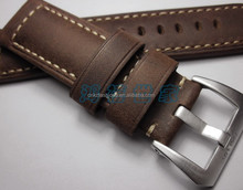 24mm Handmade Brown Genuine italian Calf Leather Watch Straps for Panera