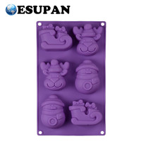 Christmas Series Novelty 6 Cavity Silicone 3D Cake Baking Molds