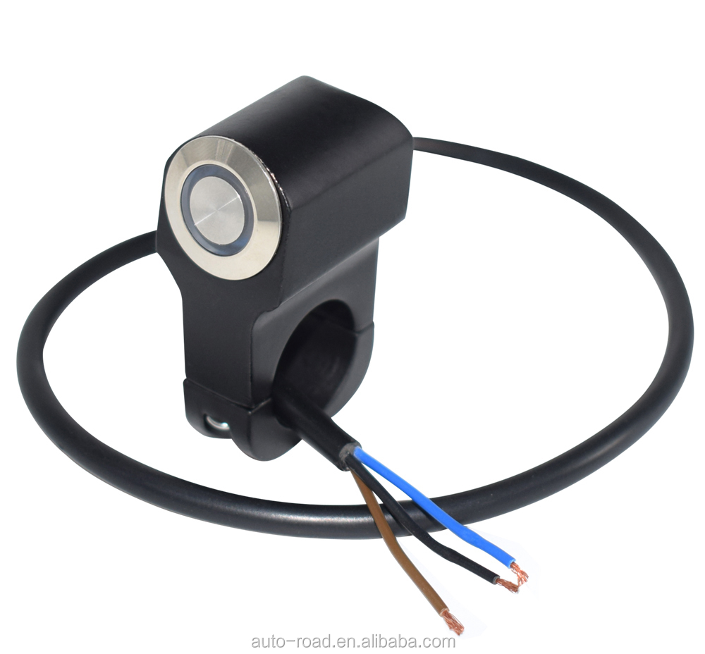 22mm 7//8 Motorcycle Handlebar Mount Horn Power Start Switch Button with Blue Indicator Light Momentary Action
