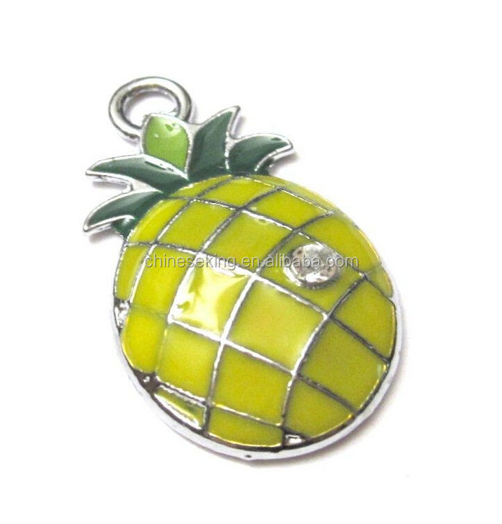 lovely enamel pineapple pendant for children rhinestone pineapple charm chunky necklace pendant jewelry accessories for kids