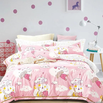 China Supplier Hot Selling Cartoon Design Pink Bedding Sets Single Use Bed  Sheet