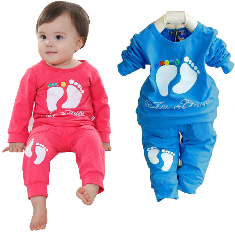 Unisex Kids Clothes 2016 Autumn Baby Clothing Set Brand Baby Girl Clothes Suit Infant Clothes Cotton Girl Outfits Shirt+Trousers