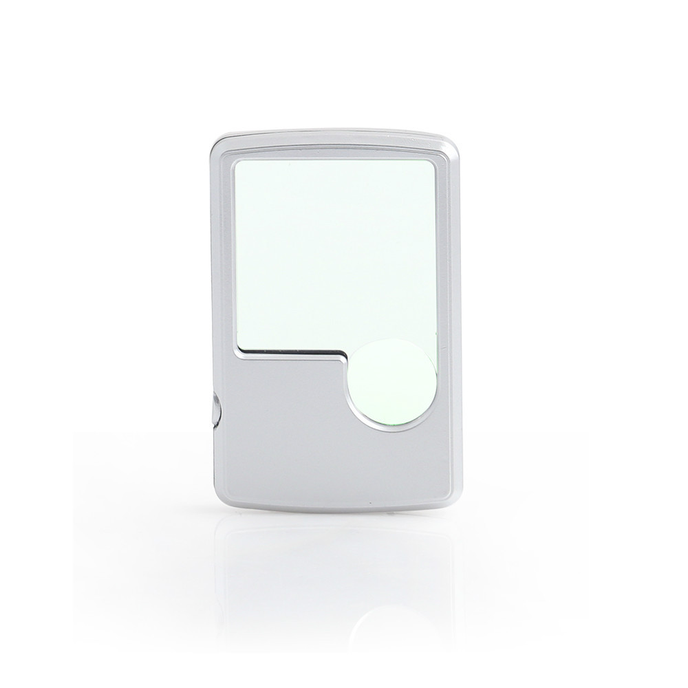 BJ61091 3X 6X Promotional Pocket Card Magnifier with LED Illumination Pocket Travel Magnifying Glass with LED Light