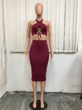 Женское облегающее платье с перекрестными ремешками, платье-пачка с открытыми плечами и лямкой на шее, из двух предметов, элегантные Клубны...(Китай)
