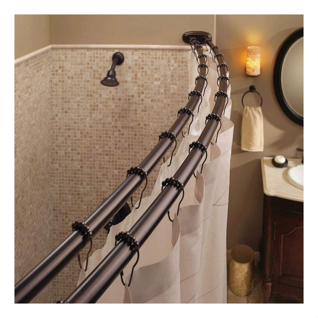 Get Quotations Double Curved Shower Curtain Rod Adjustable Crescent Fixture Oil Rubbed Bronze
