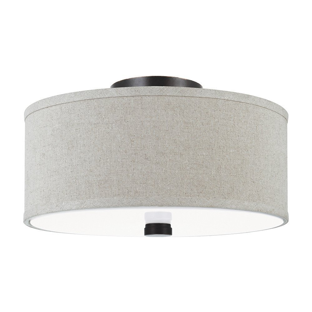 Sea Gull Lighting 77262-710 Dayna Shade Pendant Two-Light Flush/Semi-Flush Convertible Ceiling Mount Light With White Acrylic Diffuser And Linen Fabric Shade, Burnt Sienna Finish