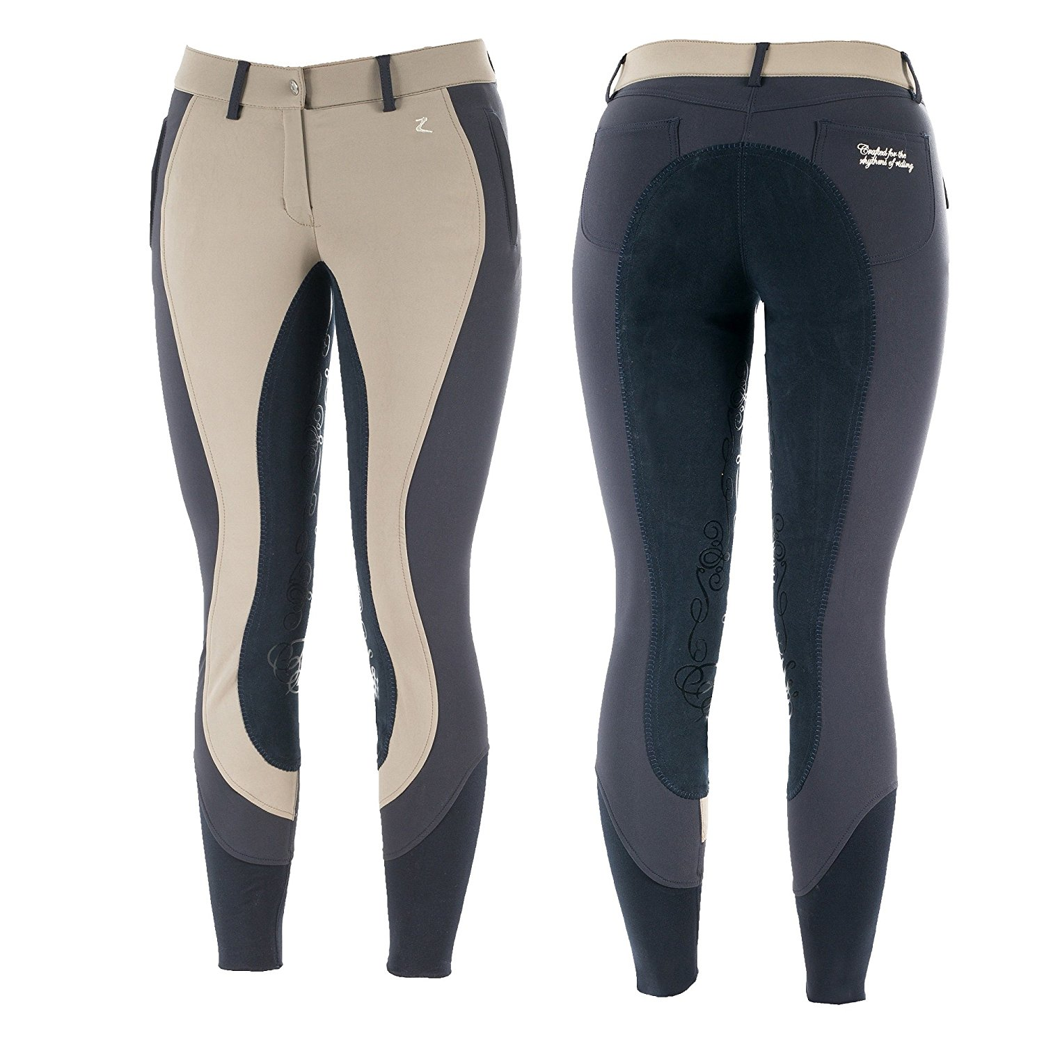 Horze Kiana Extra Breathe Water and Dust Repellent Women's Full Seat Breeches Driftwood Light Grey/Peacoat Dark Blue 24