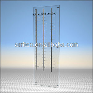 Lockable rod on acrylic sunglasses wall mounted display stand
