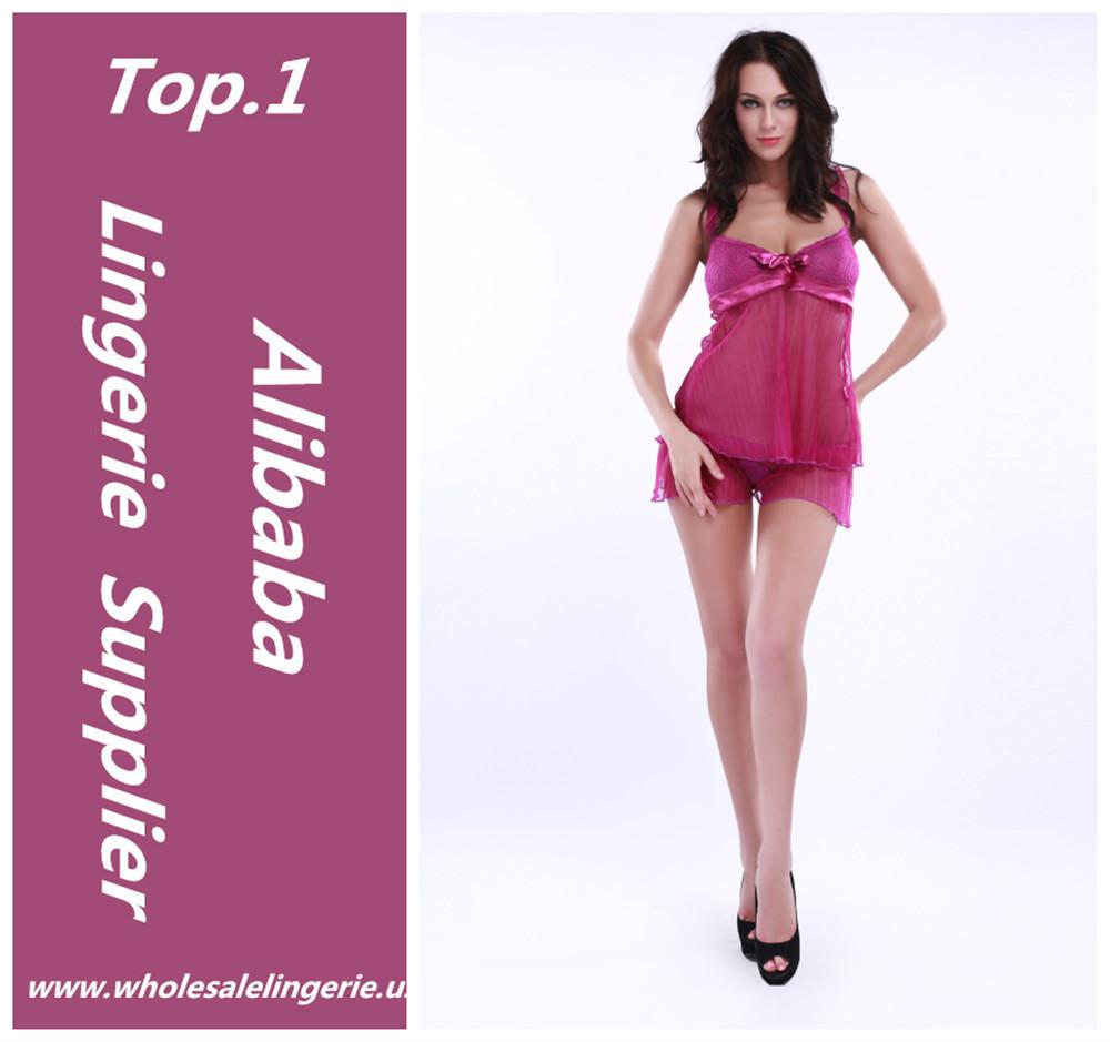 Vestido del camisón atractivo de rose babydoll lencería para mujer ...