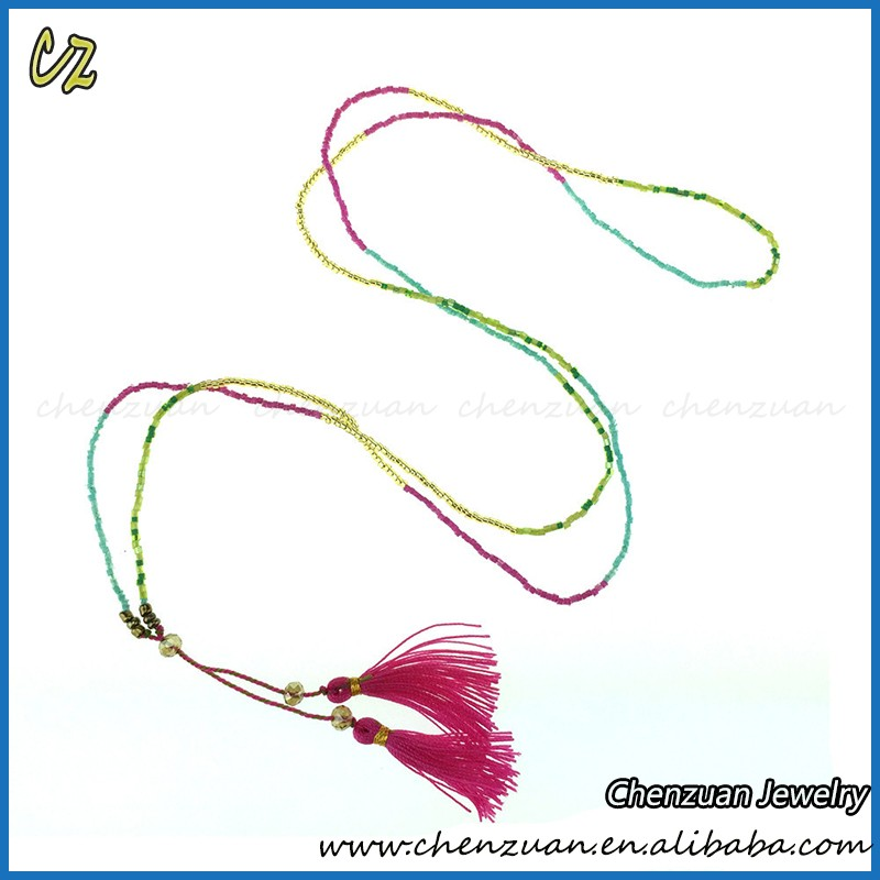 Small MOQ tassel seed beads necklace JEWELRY braided handmade fashion seed beaded necklaces