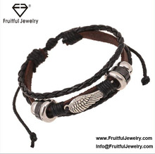 New style student Bracelet alloy wings Beaded Leather Bracelets gift braided bracelet new style weave jewelry beads