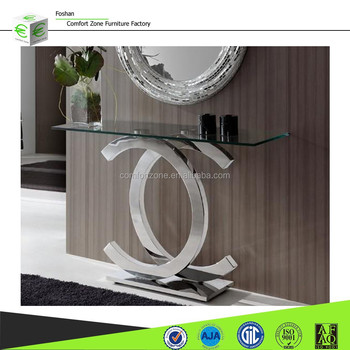 Dn03 Modern Hallway Half Moon Glass Console Table Buy Modern
