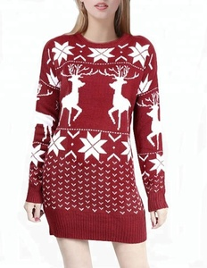 New Design Ugly Christmas Reindeer Snowflake Sweater Dress For Women