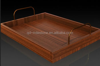 Wooden Serving Tray With Metal Handle