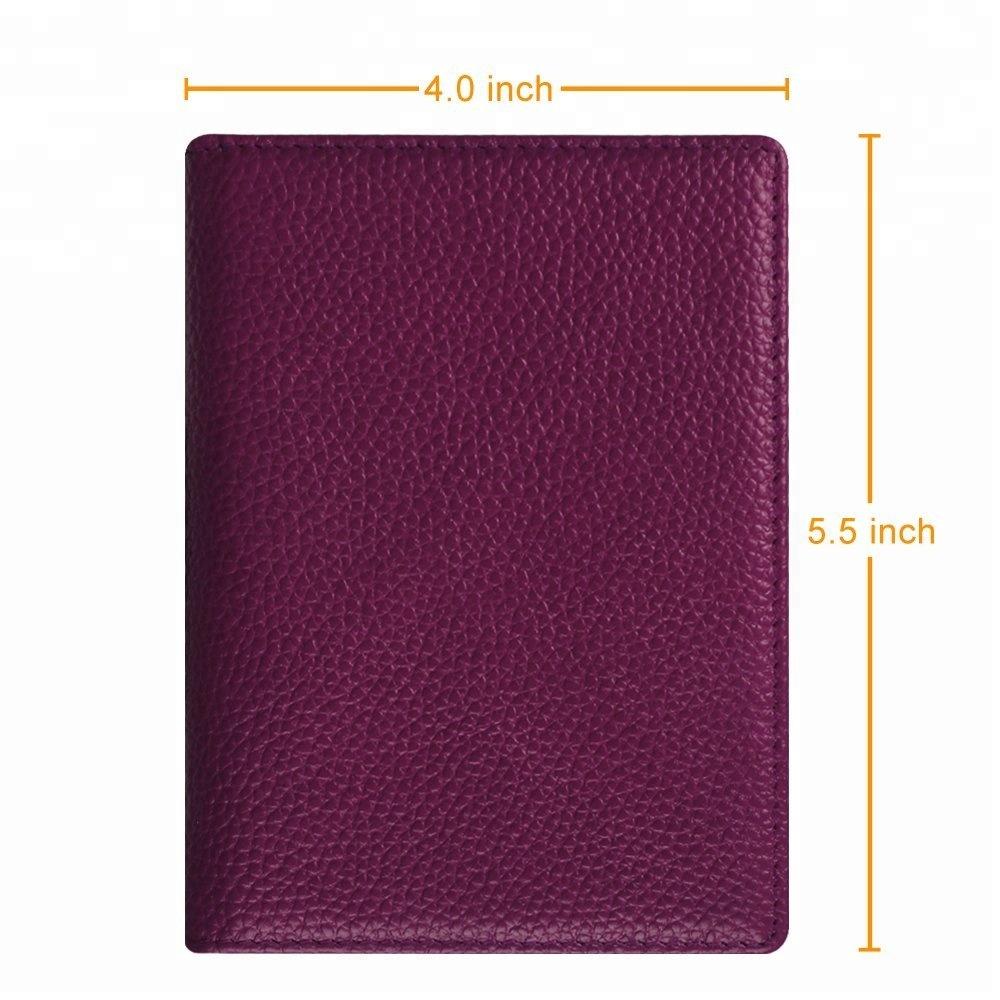 Toile Genuine Leather Passport Cover Personalized