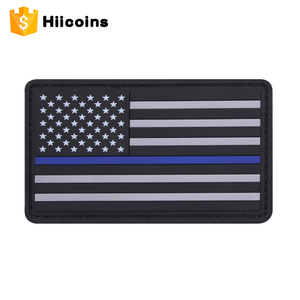 Promotional wholesale custom soft pvc patch Thin Blue Line Custom 3D Rubber Badge USA American Flag PVC Patch