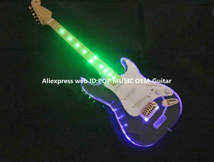 free shipping transparent crystal acrylic glass electric guitar with led lights wholesale in. Black Bedroom Furniture Sets. Home Design Ideas