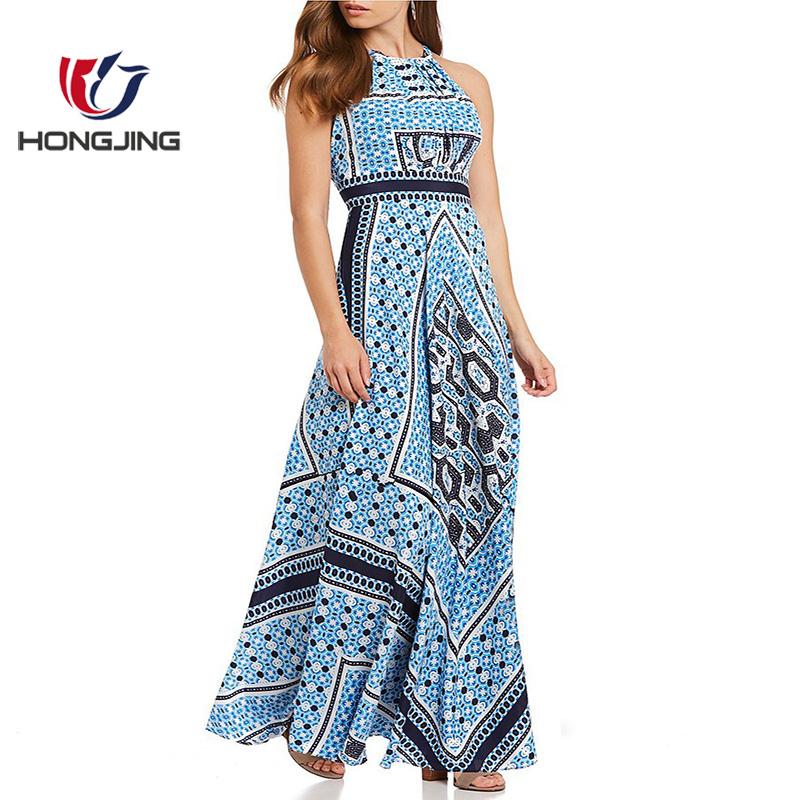 ba0284d610e733 Vrouwen dragen Halter-hals Sjaal Print Maxi Jurk SleevelessInvisible side  rits met haak en oog