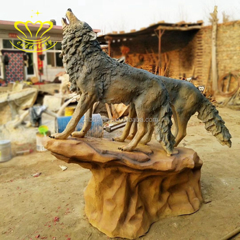 Outdoor Home & Garden Decor Fiberglass New Product Life Size Animal Wolf Sculpture For Sale